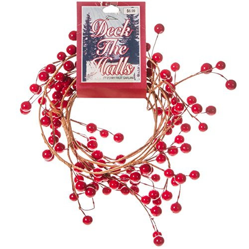 ( 6 Feet of Beautiful Colored Shiny Red Berry Wired Garland for Decorating)