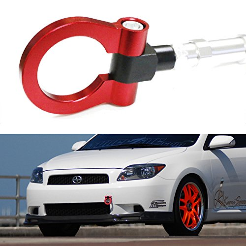 iJDMTOY Sports Red Track Racing Style Aluminum Tow Hook For 2005-2010 Scion tC