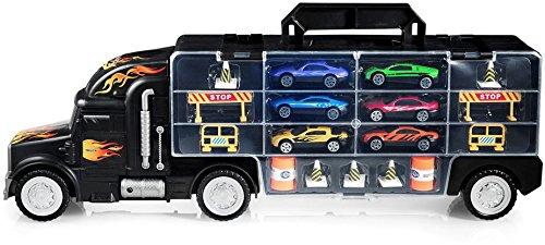 a88f6360bdaf7 Play22 Toy Truck Transport Car Carrier - Toy Truck Includes 6 Toy Cars and  Accessories -
