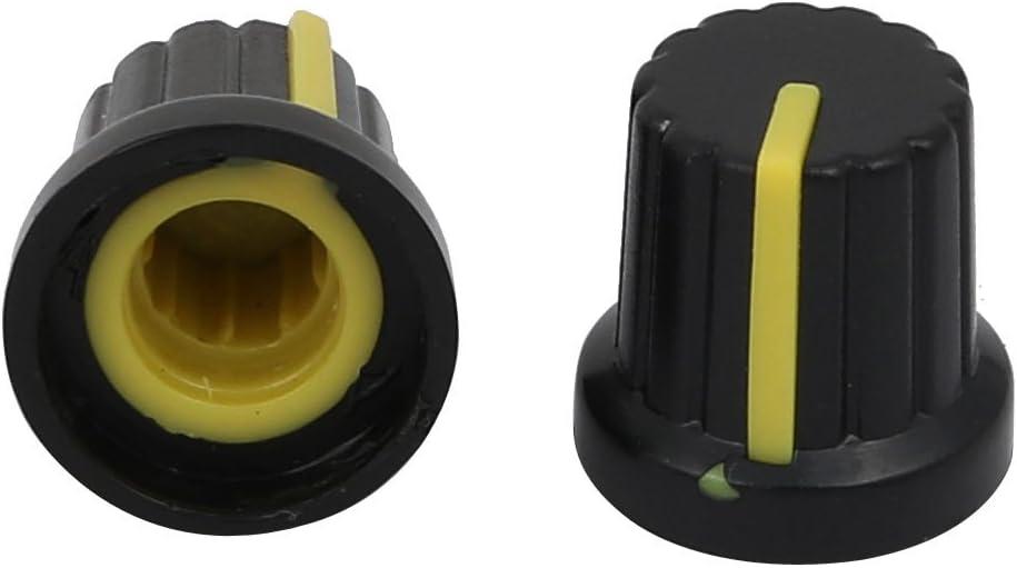 sourcing map 20pcs 14,7mm x 14,5mm Perilla Tapa Giratoria de pl/ástico del Control de Volumen del Potenci/ómetro amarilla