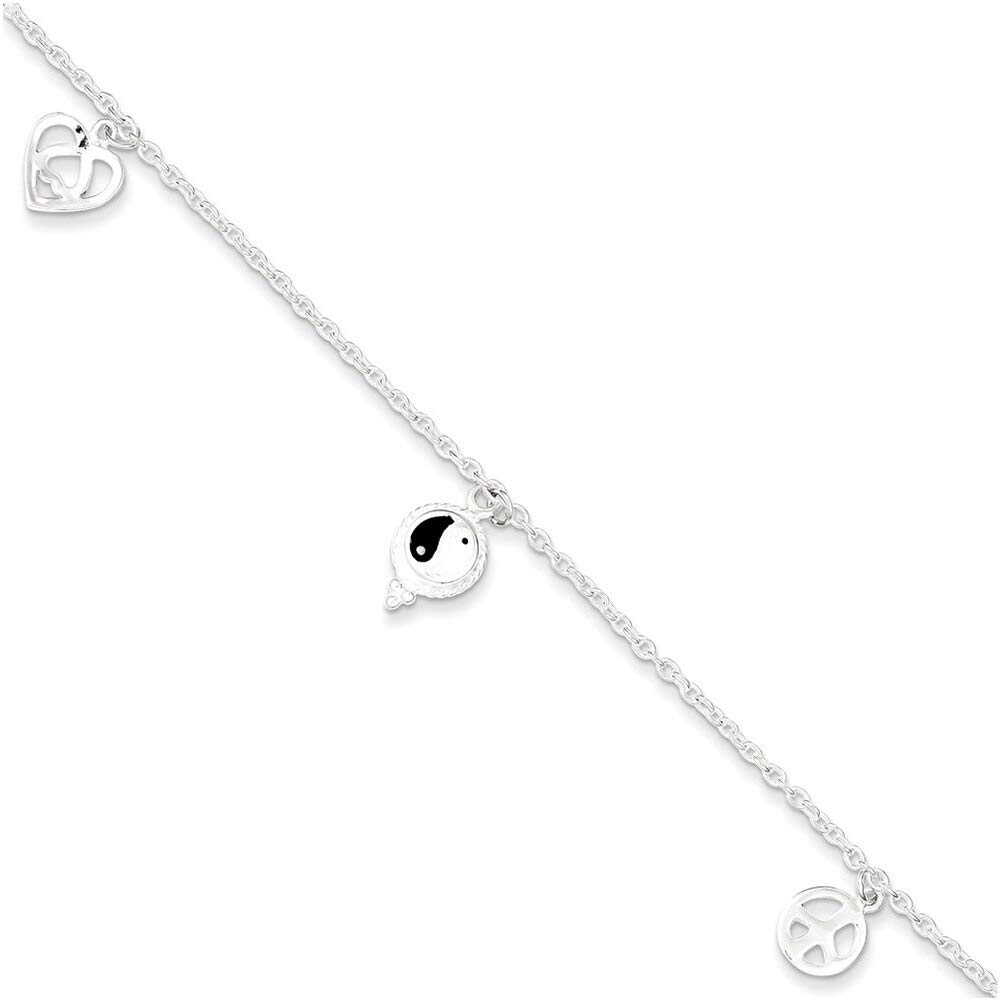 Lex /& Lu Sterling Silver Polished Hearts /& Peace Sign Anklet 9