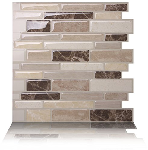 Tic Tac Tiles Anti-Mold Peel Stick Wall Tile in Polito Bella (10 Tiles)
