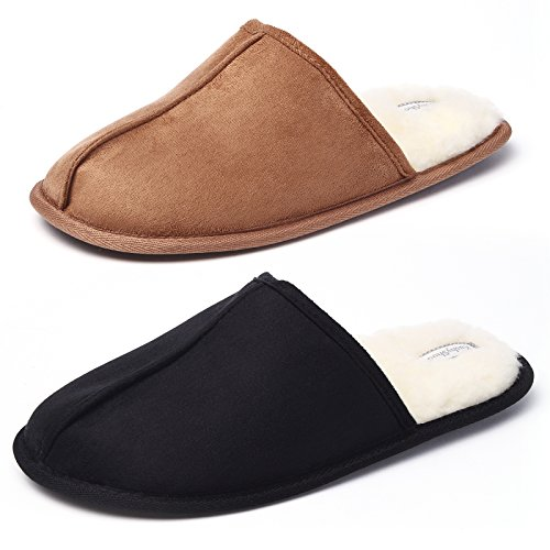 KushyShoo Men's Slip-on Indoor Outdoor Scuff Fluff Slippers
