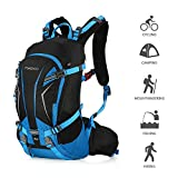 TOMSHOO 20L Backpack Lightweight Water Resistant Bicycle Bike Cycling Travel Camping Hiking Backpack Daypack with Rain Cover Helmet Cover (Blue)