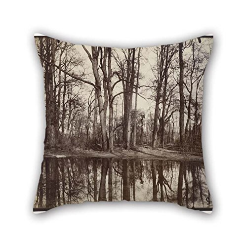 Pillowcase Of Oil Painting Eug??ne Atget - Saint-Cloud (gardens Of The Chateau Of Philippe Duc D'Orleans) For Drawing Room Couples Bench Bar Home Kids Boys 18 X 18 Inches / -