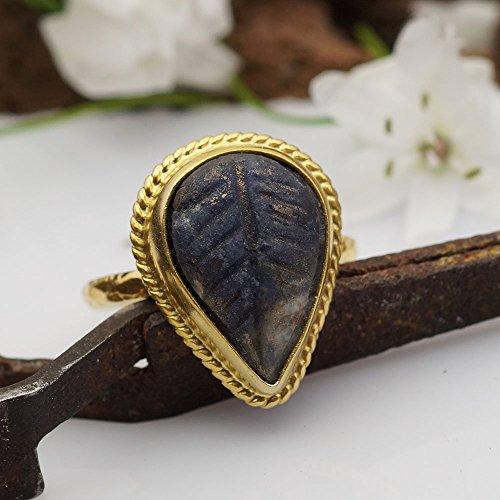 Designer Carved Ring (Sterling Silver Designer Genuine Hand Carved Sapphire Ring 24k Gold Over 925k Silver By Omer Size 6.25)