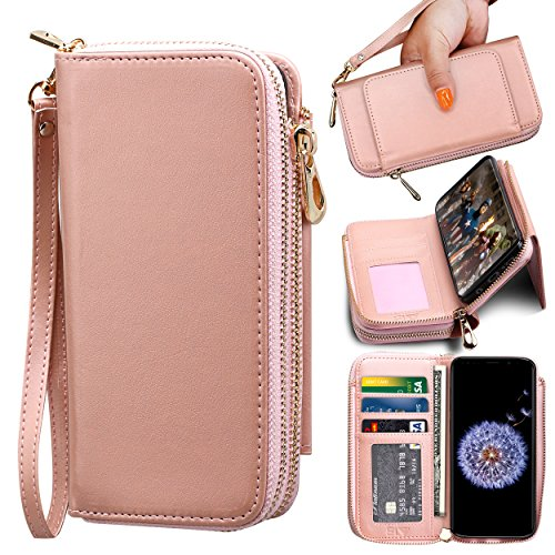 Samsung galaxy S9 PLUS Wallet Case , ELV [PU Leather] Premium Detachable 2in1 Wallet Purse Samsung S9 PLUS Credit Card Flip Case Protective with Card Slots, Stand and Magnetic Closure (Rose Gold)