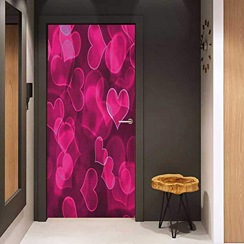 Onefzc Glass Door Sticker Decals Hot Pink Cute Sweet Heart Shapes on Blurry Background Romantic Love Valentines Day Door Mural Free Sticker W38.5 x H79 Magenta Hot Pink ()
