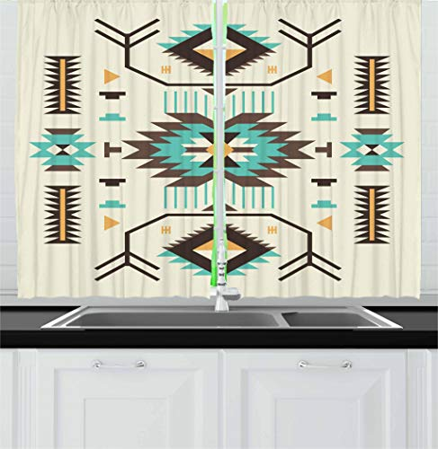 - Ambesonne Southwestern Kitchen Curtains, Ethnic Pattern Design from Ancient Aztec Culture with Indigenous Zigzag Motifs, Window Drapes 2 Panel Set for Kitchen Cafe, 55 W X 39 L Inches, Multicolor
