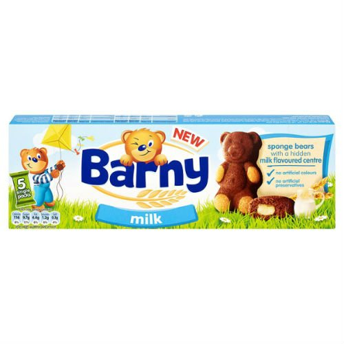 Barny Kids Sponge Bear Biscuits 5 Packs 30G In 2 Flavours Case Of 7 (Milk)