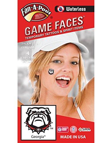 Fan A peel University of Georgia (UGA) – Waterless Peel & Stick Temporary Spirit Tattoos – 4-Piece – Bulldog Head ()