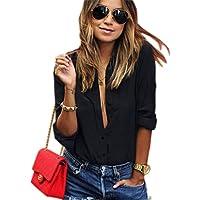 Tenworld Women Blouse Long Sleeve V Neck Shirt Chiffon Large Size Casual Shirts