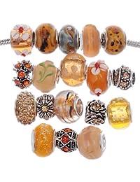 Murano Lampwork Charm Glass Beads Tibetan Crystal European Bracelet Mix Assortment Orange 15Pcs
