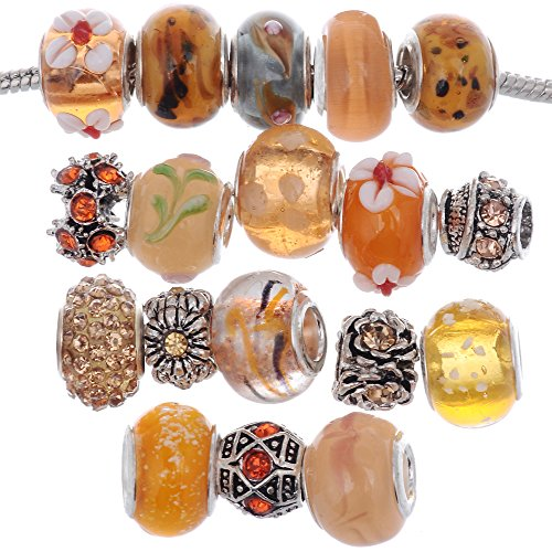 Murano Pendant Orange Glass (RUBYCA Murano Lampwork Charm Glass Beads Tibetan Crystal European Bracelet Mix Assortment Orange 15Pcs)