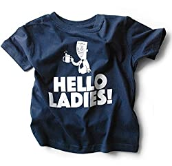 Boys Toddler T-shirt with Funny Saying - Hello Ladies - Blue - 100% Cotton