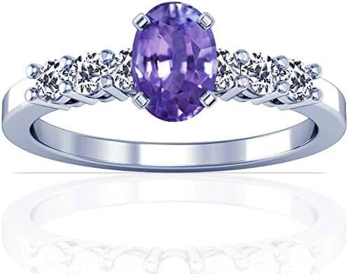 Platinum Oval Cut Purple Sapphire Ring With Sidestones