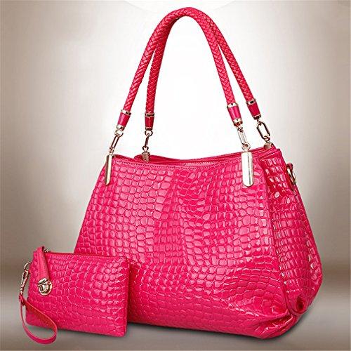 Tote Pattern Handbag Crocodile (GUAngqi Women's Crocodiles Pattern Handbags Two Pieces Set Tote shoulder bag + Wallet)