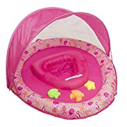 SwimSchool Toys and Joys Fabric Baby Boat, Retractable Canopy, UPF 50, Extra-Wide Inflatable Pool Float with Toys, 6 to 18 months, Pink