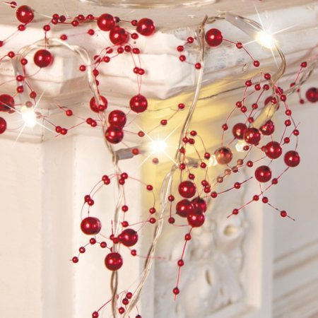 Lighted Berry-Beaded Holiday Garland by Collections Etc