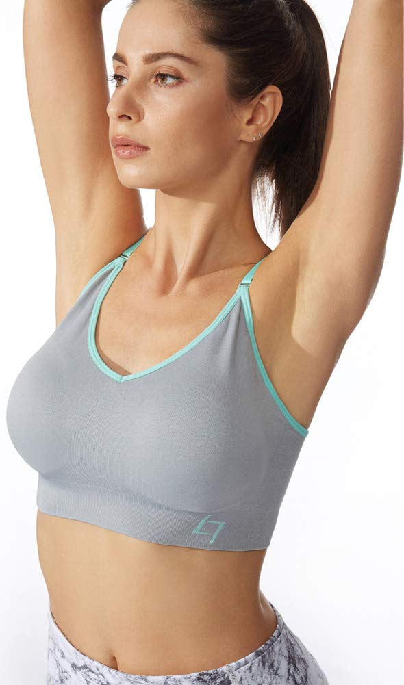 FITTIN Cross-Over Sports Bra Grey - Padded Seamless Med Impact Support for Yoga Gym Workout Fitness Small by FITTIN