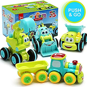 MOBIUS Toys 4 Friction Powered Trucks for 2+ Year Old Boys