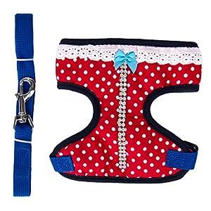 CueCue Pet's [Small] Dazzling Red Little Miss Sparkle Choke-Free Polka dot Harness w/ Leash