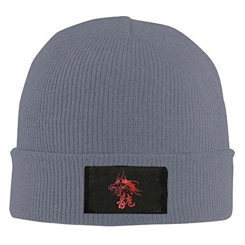 Mr.Roadman Unisex Fantasy Dragon Red Elastic Knitted Beanie Cap Winter Outdoor Warm Skull Hats One Size Asphalt