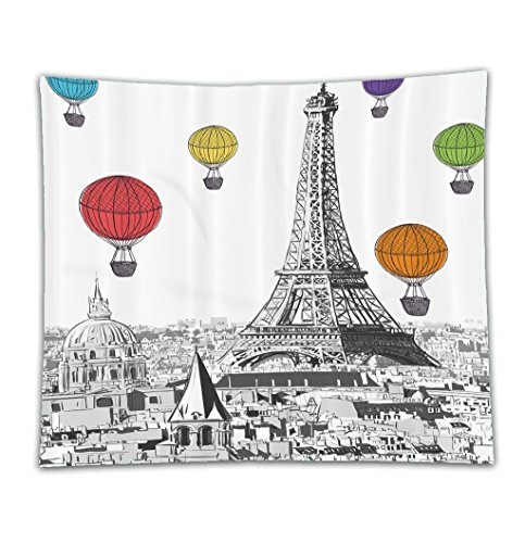 Costume Notre Dame De Paris (Beshowereb Fleece Throw Blanket Beshowereb Fleece Throw Blanket Beshowereb Fleece Throw Blanket Paris Eiffel Tower Cityscape Decor Notre Dame with Colorful Hot Air Balloons Polyester Set with Hooks)