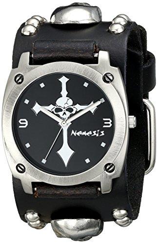 Nemesis Men's 927MSK-K Skull Cross Series Analog Display Japanese Quartz Black - Studded Cuff Watch