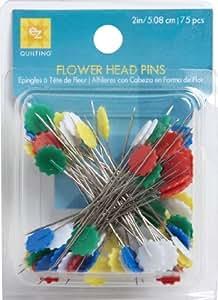 EZ Quilting 881428 - Pack de 75 alfileres con cabeza en forma de flor, multicolor