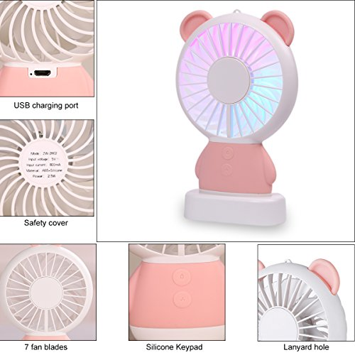 BLSTECH Office Desktop Fan, Rechargeable Handheld Fan with Colorful LED Light, Portable Cooling Fan for Teenager Students, Women and Children,Cartoon Rabbit Small Fan(Pink)