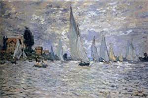 The Linen Canvas of oil painting 'Les Barques Regates A Argenteuil 1874 By Claude Monet' ,size: 24x36 inch / 61x92 cm ,this Reproductions Art Decorative Prints on Canvas is fit for Garage gallery art and Home decor and Gifts