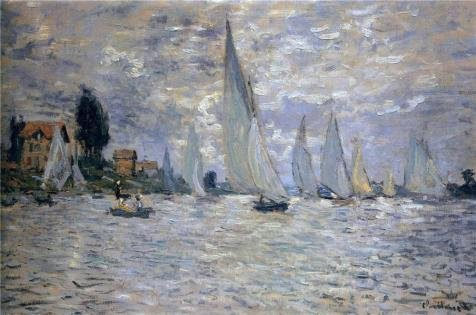 'Les Barques Regates A Argenteuil 1874 By Claude Monet' Oil Painting, 24x36 Inch / 61x92 Cm ,printed On Perfect Effect Canvas ,this Vivid Art Decorative Canvas Prints Is Perfectly Suitalbe For Powder Room Decor And Home Decoration And Gifts