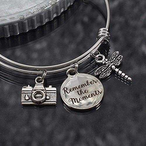 Custom Remember the Moments Expandable Bangle Bracelet with Choice of Charms