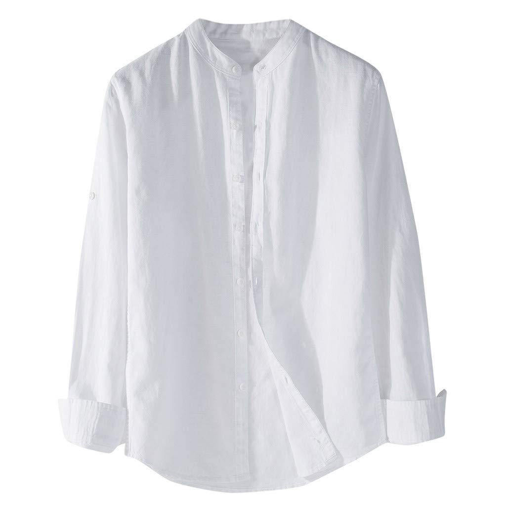 Mens Shirt Solid Color Long Sleeve Button Cotton Linen Casual Comfortable Blouse