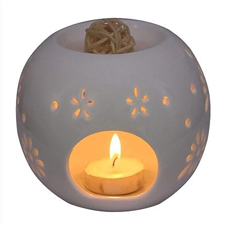 Amazon.com: Singeek - Portavelas de cerámica para vela de té ...