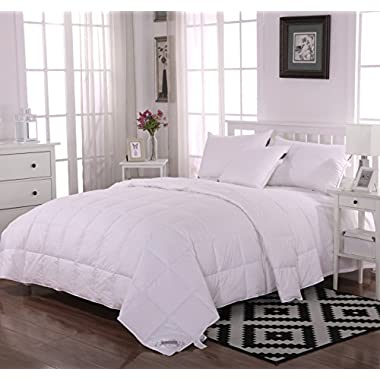 Summer Lightweight 100% Hungarian White Goose Down Comforter, Solid White (King(100x90 inch))