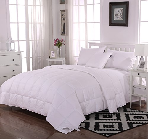 Summer Lightweight 100% Washed White Goose Down Comforter Blanket,King Size,500 TC Cotton Cover,Solid White
