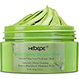 Hebepe Matcha Green Tea Facial Detox Mud Mask with Aloe Vera, Deep Cleaning, Hydrating, Detoxing, Healing, and Relaxing Volca