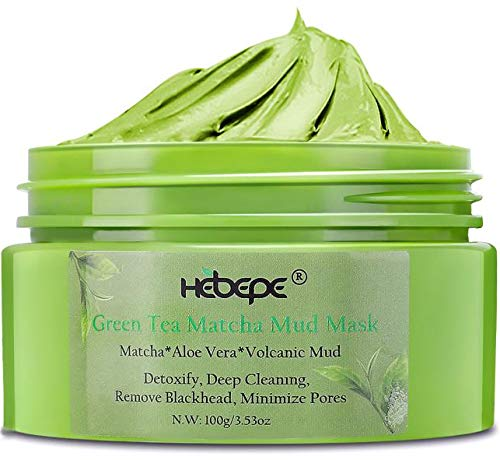 Hebepe Matcha Green Tea Face Mud Mask with Aloe Vera-Cleansing, Hydarting, Detoxing, and Healing Clay Mask-Pore, Acne, and Blackhead Treatment for All Skin Type (Green Facial Mask)