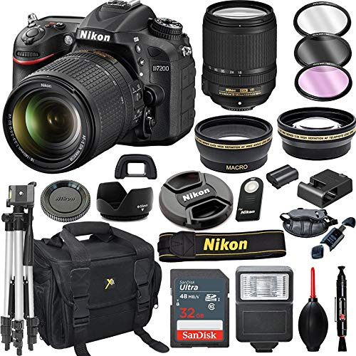Nikon D7200 DSLR Camera with 18-140mm VR Lens + 32GB Card, Tripod, Flash, and More (20pc Bundle)