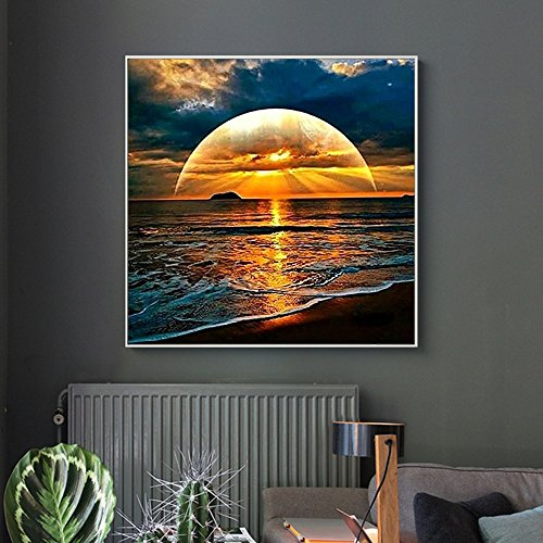 Price comparison product image Auwer 5D DIY Diamond Painting Full Drill Diamond Painting Kits Sea Sunset Rhinestone Cross Stitch for DIY Home Art Craft Painting Decoration (Multicolor)