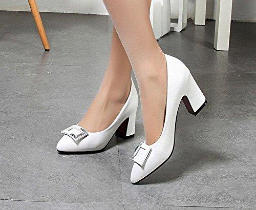 Latasa Mujeres Moda Punta Estrecha Dedo Medio Vestido De Tacón Grueso Bombas Zapatos Blanco