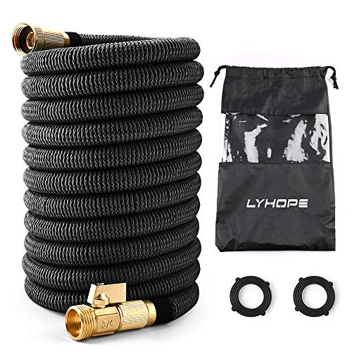 Lyhope Expandable Garden Hose, 50ft Water Hose with Double Latex Core – 3/4 Solid Brass Fittings – Heavy Duty Flexible Hose (Black)