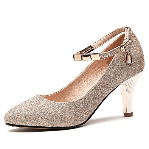 KPHY Zapatos De Punta Solo La Primavera Y El Otoño El Verano Los Zapatos De Cuero Los Tacones De 8 Cm De Tacon Alto Delgado Medio Tacón Hebillas Mujeres. Golden