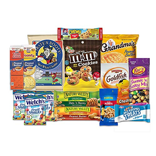 Care Package for College Students, Military, Valentines Day, Birthday, Office Snacks and Back to School with Chips, Cookies and Candy (15 Count) From SnackBOX ()