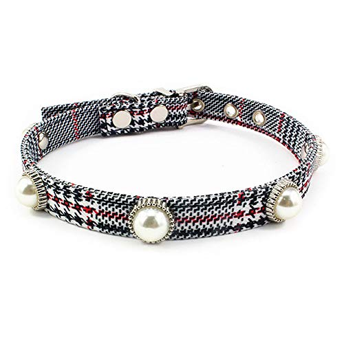 Avenpets Cute Pearl Dog Cat Collar Soft Adjustable Sturdy Cotton Collar Festive Christmas Holiday,Houndstooth-B,M:(Neck 10.7-12.6