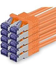 Cat.7 nätverkskabel 1m - orange - 10 stycken - Cat7 patchkabel (SFTP/PIMF/LSZH) rå kabel 10 Gb/s med Rj 45-kontakt Cat.6a - 10 x 1 meter orange
