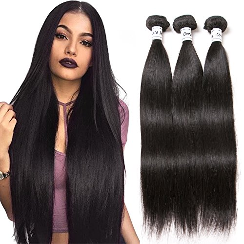 Human Hair Remy (Ornate Hair Brazilian Straight Human Hair 3 Bundles 8A Brazilian Virgin Human Hair Weave Bundles Remy Hair Extensions Natural Black (12 14 16 Inch))