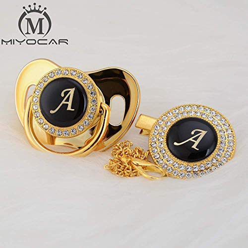 MIyocar all handmade bling baby pacifier and clip set 26 letters and 11 colors can choose LA